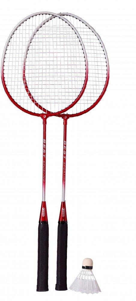 Best Sporting Badminton-Spiel Garnitur bestehend aus 2 Schlä gerund 1 Badmintonball, blau/Silber oder rot/Silber Farbe:blau/Silber