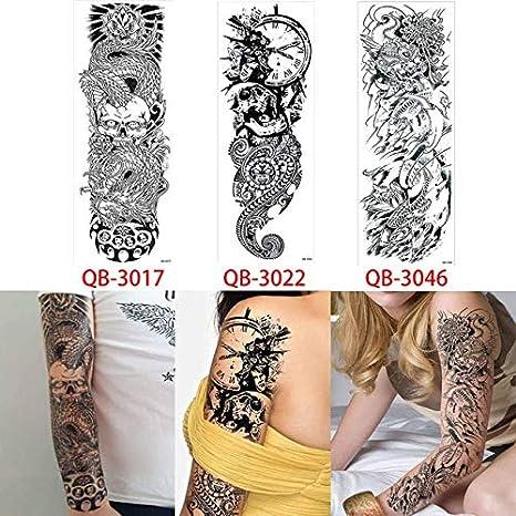 HXMAN 3 Tatuaje De Brazo Completo Pegatina Esqueleto Reloj Diseño ...