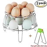 Egg Steamer Rack Trivet, 2-Pack Stainless Steel Stackable Vegetable Egg Cooker Steam Rack Stand for Instant Pot and Pressure Cooker, Pot Dish Clip Free