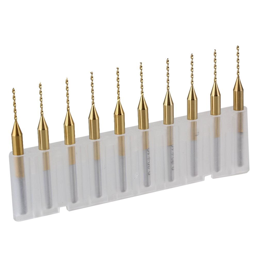 10x 3,175mm Schaftdurchmesser titannitriert Carbide Schmuck Bohrer 0.8mm Klingen