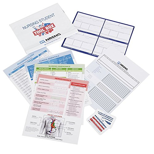 Nursing Student Tool Box Gift for Nursing Students (Nursing Student Kit: 4 NCLEX Cheat Sheets,2 Lab Cards, Drug Cards, Mnemonics, more)