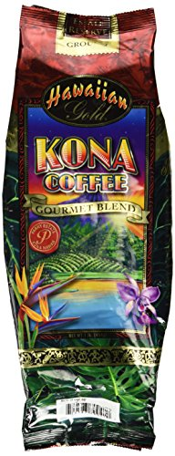 Hawaiian Gold Kona Ground Coffee Gourmet Blend 1 lb (454g) package