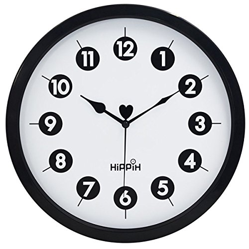 Hippih 12-Inch Silent Plastic Wall Clock with G...