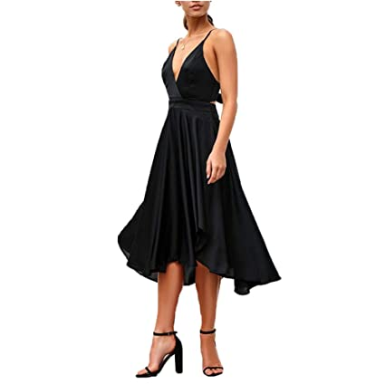 9bb73002446 Image Unavailable. Image not available for. Color  CHoppyWAVE Womens  Chiffon Spaghetti Strap Deep V Neck Backless High Slit Maxi Beach Dress ...