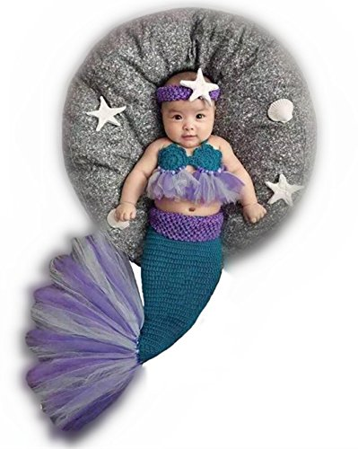 Newborn Baby Girl Knitted Costume Outfit Photography Props Mermaid Headband Bra Tail Purple (Teemo Halloween Costume)