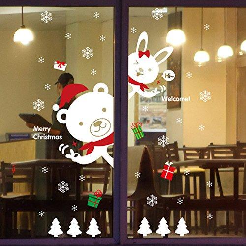 Fenêtre Autocollant, Youson Girl® Noël Wall Sticker DIY Ours Lapin Fenêtre Decal De Noël Mur Mural Flocon De Neige Autocollant Youson Girl® EXPSFD015204