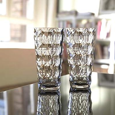 QG 13 & 22 fl oz. Diamond Cut Pattern Clear Smoke Grey Acrylic Plastic Tumbler Set of 8