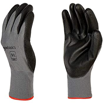AmazonBasics Polyurethane Coated Work Gloves, Polyester Liner Fiber, Touch Screen, Grey, Size 9, L, 12-Pair
