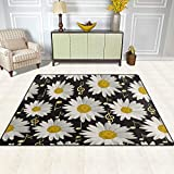 Area Rugs Mat Carpet 5'x7', Flower Daisy Music Notes Pattern Polyester Non-Slip Living Room Dining Bedroom Carpet Entrance Floor Mat Home Decor