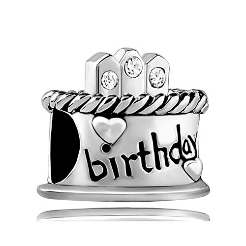 White Birthday Cake Charm (Chris Johnsons Jan-Dec Happy Birthday Charms B-Day Cake Charm Beads For Bracelets (Apr White))