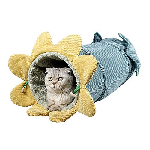 HenryDong Collapsible Cat Tunnel, Fun Run Crinkle Tube, Bored Cat Pet Toys, Peek Hole Indoor Outdoor Toys for Puppy, Kitten, Dogs, Pets, Cuddle Cup - Cozy, Warm Comfortable Cat and Dog House Bed
