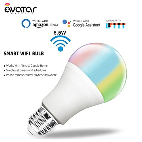 - AvatarControls WiFi Smart LED Light Bulb,E26 6.5W Dimmable RGB Multi-Color Changing Home Light,Compatible with Alexa/Google Assistant,Supports Remote Control ON/Off/Color Switch via Android/iOS App