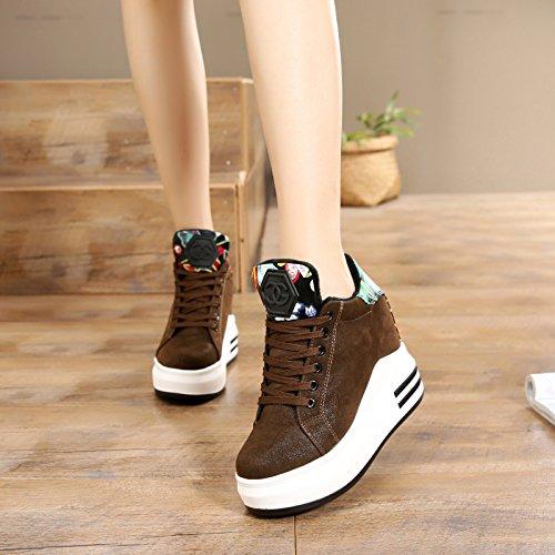 12 individuales fondo Zapatillas GTVERNH Primavera Casual espesor Zapatillas High Verano Zapatos Otoño mujer de mujer interior y alto marrón de Heels para Zapatos Cm tacón En Wild Super de de wSSxqfnvZ