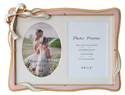 L&T Elegance Metal Picture Frame Gold Plated with Pink Enamel and Crystals, Bow Ornament, for 5 by 7 inch photos