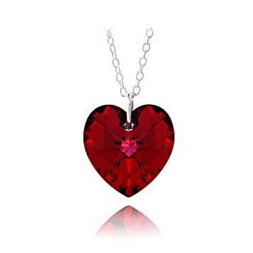15c8b5f8a Amazon.com: 925 Silver Ruby Red Swarovski Elements Heart Necklace, 18