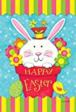 Toland Home Garden Peeping Bunny 28 x 40 Inch Decorative Colorful Happy Easter Egg Rabbit Flower House Flag