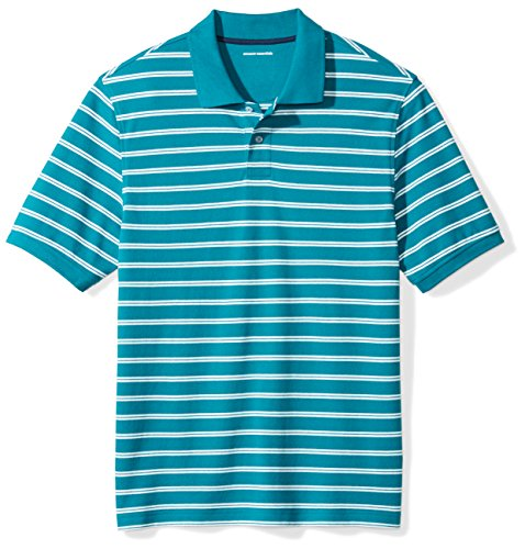 Amazon Essentials Men's Regular-Fit Cotton Pique Polo Shirt, Teal Stripe, X-Large