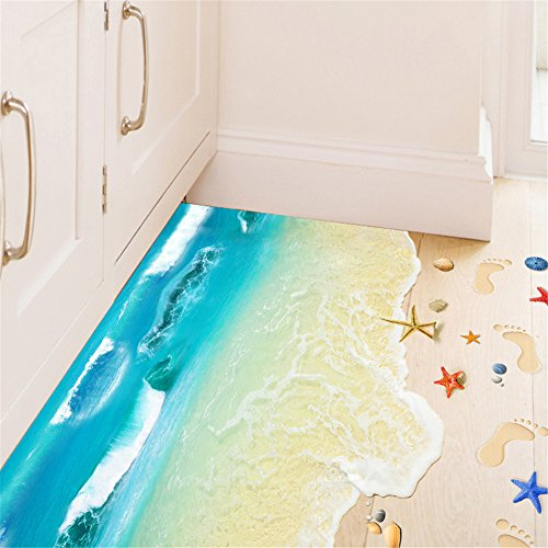 BIBITIME 3D Vivid Blue Sea Beach Floor Stickers Decal Skirting Line Baseboard Wave Vinyl Decor Art for Bathroom Bedroom 60 90 CM amp 2362quot3543quot Blue Sea Beach Starfish