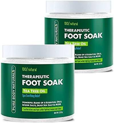 Foot Soak with Tea Tree Oil - 20 oz Tea Tree Essential Oil Foot Bath Fights Fungus & Bacteria,Soothes Aches & Pains,Soften Corns & Calluses,Foot Soak with Pure Dead Sea Salt & Essential Oils, 2 pack