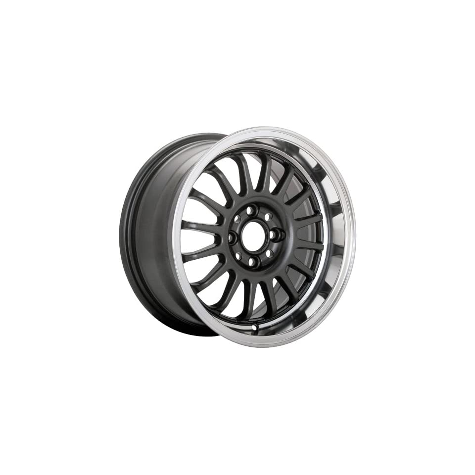 15 Inch 15x8 Konig wheels Wideopen Gloss Black w/ Machined Lip wheels rims