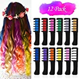 VSADEY 12 Color Hair Chalk for Girls Kids, Temporary Hair Chalk Color Comb with Shawl, Non-Toxic Washable Glitter Hair...