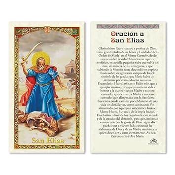 San Elias del Monte Carmelo Baron del Cementerio Tarjeta de Oracion Plastificada