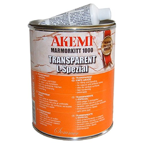 Akemi Marmorkitt 1000 Transparent Knife Grade Adhesive L-Special, Quart (900ml) Polyester Glue for Natural Stone Filling & Laminating