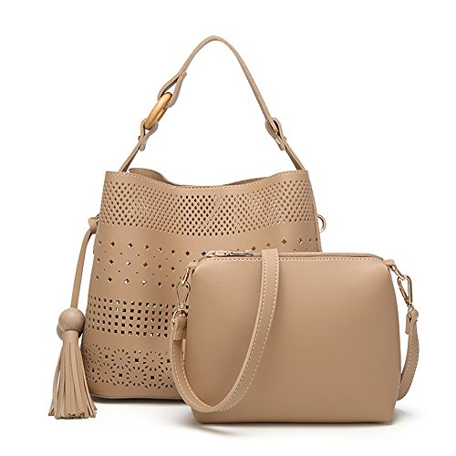 Pu Messenger Carton Carved Bag Khaki Large Leather Bag Capacity Hollow qZwZXpC