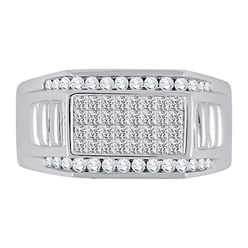 KATARINA Round and Princess Cut Diamond Men's Ring in Sterling Silver (1 cttw, G-H, VS2-SI1) (Size-7.25)