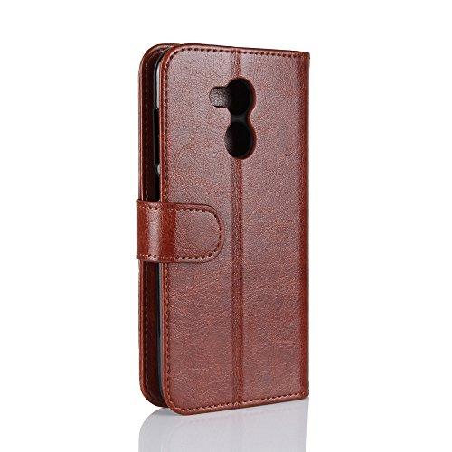 La cubierta de la caja de la cartera del teléfono para Huawei honor 6A. GOGME Huawei honor 6A Flip Funda Funda para Teléfono, Premium PU Cartera de Cuero Conector para Celular, Celular Skin Poche Magn marrón