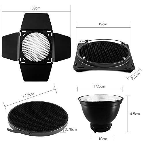 Ultrapure BD-04 Barn Door Honeycomb Grid 4 Color Filter + Bowens Mount Reflector for Studio Flash by Ultrapure (Image #1)