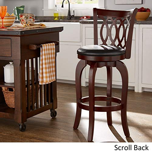 29-inch High Back Barstool in Rich Cherry Finish, Scroll Back Design, Solid Wood with Black Faux Leather Upholstery, Ring Footrest, 360-degree Swivel, High-density Foam in 2.4-inch Thick Round Cushion