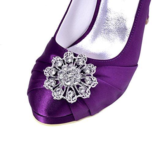 Elegantpark - Zapatos de vestir de satén para mujer Morado