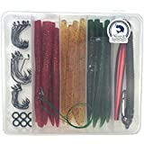 """Nicer-S Fishing Lures Kit(108Pcs) - 24 x Wacky Worms(5.52""""), Wacky Rig Tool and O-Rings, 3 Sizes Fishing Hooks…"""