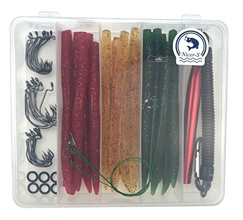 Fishing Lures Kit(108Pcs)-Artificial Soft Plastic Bait Set- Wacky Worms(24pcs 5.52