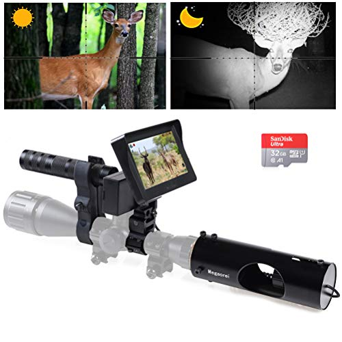 Megaorei 【2020 Upgrade】 Digital Night Vision Scope Video Camera for Riflescopes Hunting IR Optics Sight 720P Video/Photo with 4.3 inch HD Display and Infrared Laser Flashlight 32GB Micro SD Card