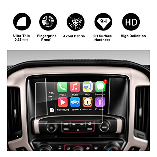 2015 2016 2017 2018 GMC Sierra 1500/2500HD 3500HD INTELLILINK 8-Inch Car Navigation,GMC Infotaintment System RUIYA HD Clear TEMPERED GLASS Screen Protective Film (8-Inch)