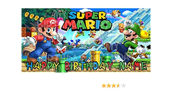 Super Mario Bros Birthday Party Banner Personalized/Custom Decoration