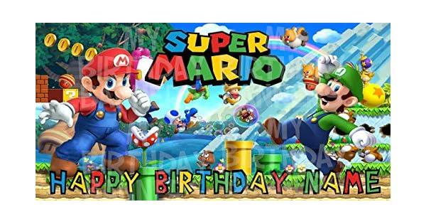 Amazon.com: Super Mario Bros Birthday Party Banner ...