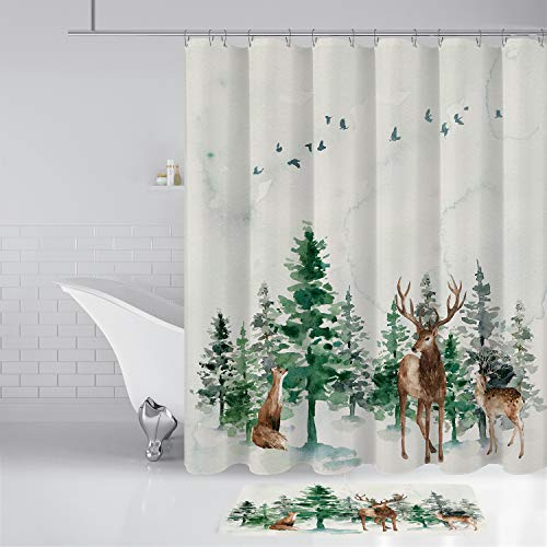 """aspeike Pine Trees, Squirrel and Deer in The Snowy Mountains Christmas Shower Curtains, Polyester Fabric Waterproof Shower Curtains Sets, Bathroom Curtain with 12 Hooks, 70"""" x 72"""", White and Green"""