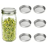 CUSFULL 6 Pack Sprouting Lids for Wide Mouth Mason Jars -Stainless Steel Strainer Lid for Canning Jars and Seed Sprouting Screen