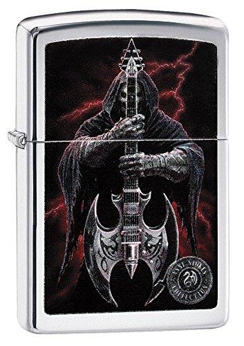 Guitar Lighter (Zippo Grim Reaper Guitar Pocket Lighter, High Polish Chrome)