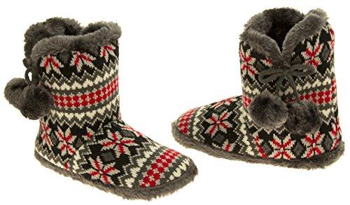 Mujer Coolers de punto de piel sintética slouch botas zapatilla Gris