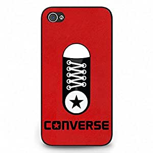 Luxury Style Converse Logo Iphone 4 Case,Converse Logo Phone Case Black Hard Plastic Case Cover For Iphone 4