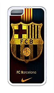 5C Case, iPhone 5C Case Galaxy Pattern Fc Barcelona Team Logo Background Glorious iPhone 5C Shoockproof White Soft Case Full Body Hybrid Impact Armor Defender Cover protective Case for iPhone 5C