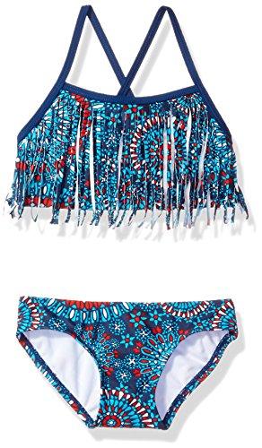 Kanu Surf Girls' Big Melanie Fringe Bikini Swimsuit, Red/White/Blue, 10