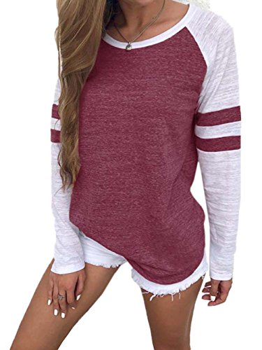 Famulily Women's Long Sleeve Baseball Tee Shirt Crew Neck Colorblock Striped ()