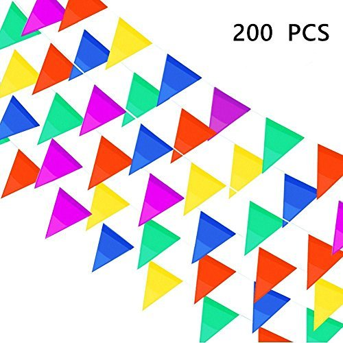 InnoFun Pennant Flag Banners,Nylon,250 Ft,Multicolor,200 PCS