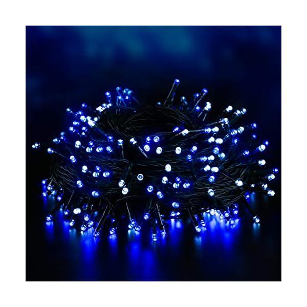 Elegear 40M 300LEDs Luci Natale Esterno IP44 Impermeabile Luci Natale Batteria con 8 Modalità Illuminazione, Decorazione per Natale, Giardino, Patio, Albero di Natale - Blu Bianco 1 spesavip