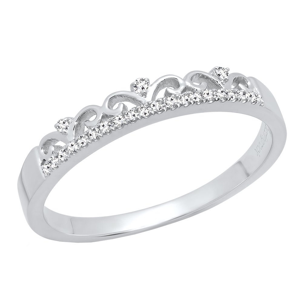 0.07 Carat (ctw) 10K White Gold Round Diamond Ladies Crown Anniversary Wedding Band (Size 6)
